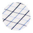 100% Two-Ply Blue Checked White Cotton