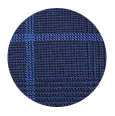 100% Super 150s Blue Check Navy Plaid Wool (Italy)