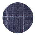 100% Super 120s Blue Plaid Wool (Italy)