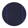 100% Super 160s Navy Blue Wide Chalkstripe Wool (Italy)